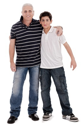 Caucasian boy with his father