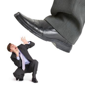 Big foot of crisis crushes entrepreneur